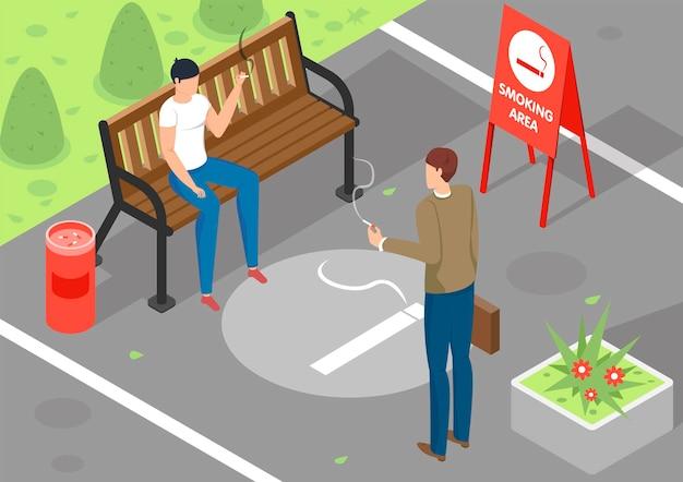 Duas pessoas fumando em uma área especial ao ar livre ilustração 3d isométrica