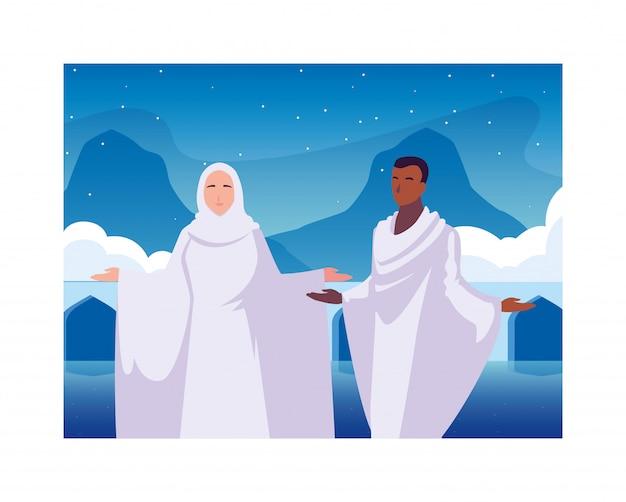 Duas pessoas peregrinos hajj, dia de dhul hijjah