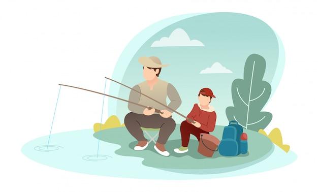 Duas pessoas que estão pescando com vários equipamentos de pesca.