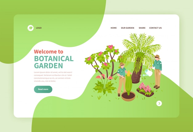 Duas pessoas trabalhando no jardim botânico com plantas exóticas isométrica banner 3d