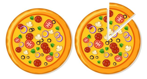 Duas pizzas inteiras e com rodelas. vista do topo