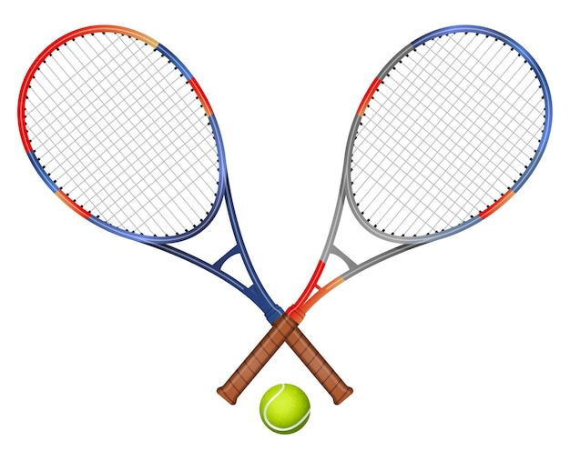 Duas raquetes de tênis e bola