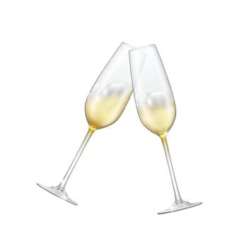Duas taças de champanhe cruzavam champanhe espumante em copos brilhantes.