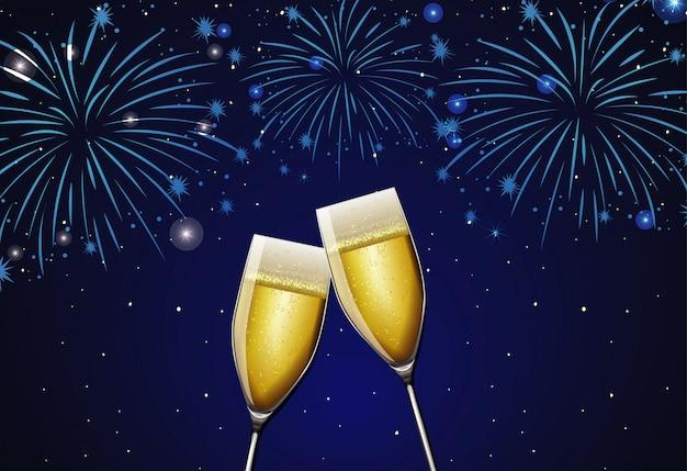 Duas taças de champanhe e fogos de artifício