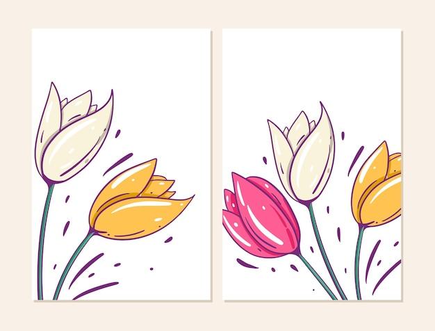 Duas tampas com flores de tulipas. estilo de desenho animado.