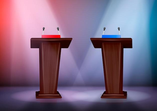 Duas tribunas para debate no palco iluminadas por holofotes, composição colorida realista ilustração 3d,