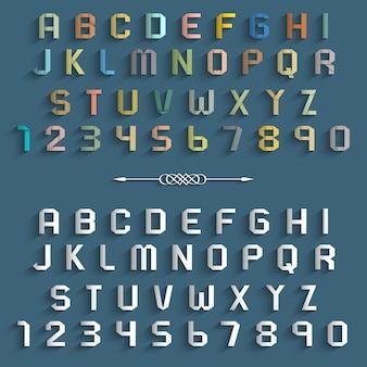 Duas várias letras e números do alfabeto de origami