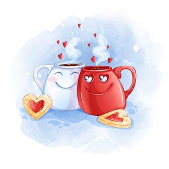 Duas xícaras apaixonadas por chá quente e biscoitos em forma de coração.