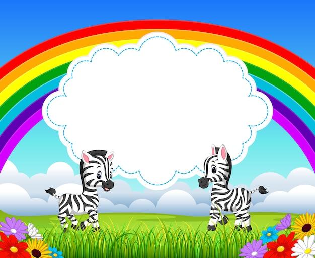 Duas zebra com paisagens de arco-íris
