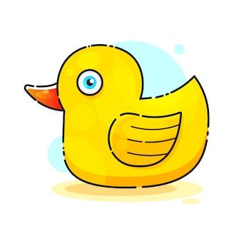Ducky banho brinquedo vector plana cor ícone para aplicativos