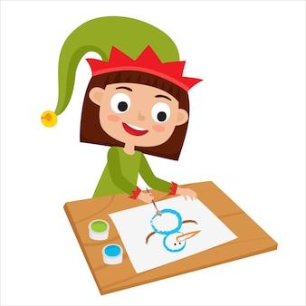 Duende artista menina sentada à mesa e pintando o boneco de neve.