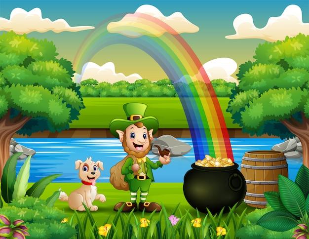 Duende com um cachorro na natureza e paisagem de arco-íris