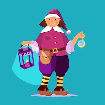 Duende de natal com relógio e lanterna nas mãos. estilo mágico de desenho animado de natal.