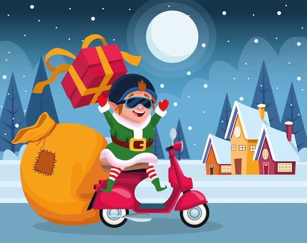 Duende de natal dos desenhos animados em uma motocicleta com caixa de presente durante a noite de inverno, colorida, ilustração