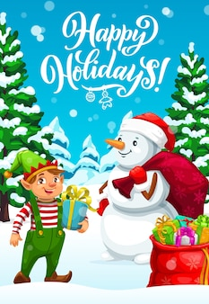 Duende de natal e boneco de neve entregando presentes de natal