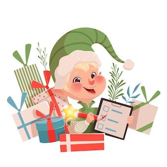 Duende de natal engraçado fofo colocou uma marca de seleção na lista e sorrindo ao lado de presentes. ilustração de natal em um fundo branco