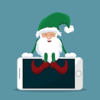 Duende de papai noel sentado em cima do celular