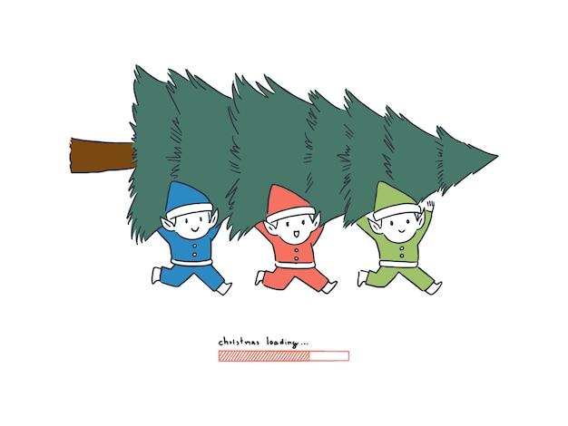 Duende feliz carregando a árvore de natal com a barra de carregamento, conceito de contagem regressiva, ilustração do estilo de arte de linha desenhada à mão.
