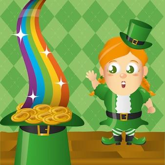 Duende irlandês com moedas e arco-íris, dia de st patricks