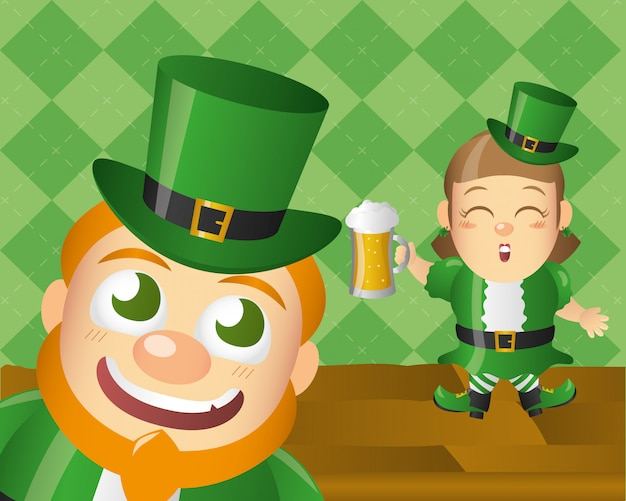 Duende irlandês feliz, dia do st patricks