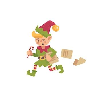 Duende ocupado bonito do natal que corre com papéis e letras. papai noel elfo personagem plana il
