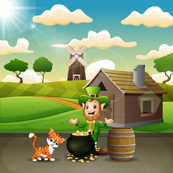 Duendes de dia dos desenhos animados st patrick comemoram com um animal de estimação