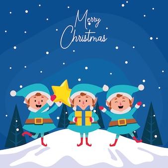 Duendes de natal feliz dos desenhos animados com estrela e caixa de presente durante a noite de inverno, colorida, ilustração