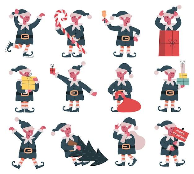 Duendes de natal, papai noel, fofos ajudantes de feriado, elfos de natal embalam presentes de natal e desenhos animados