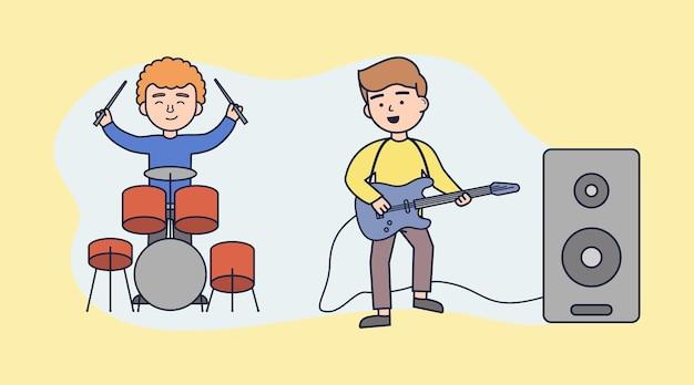 Dueto ao vivo de baixista e baterista