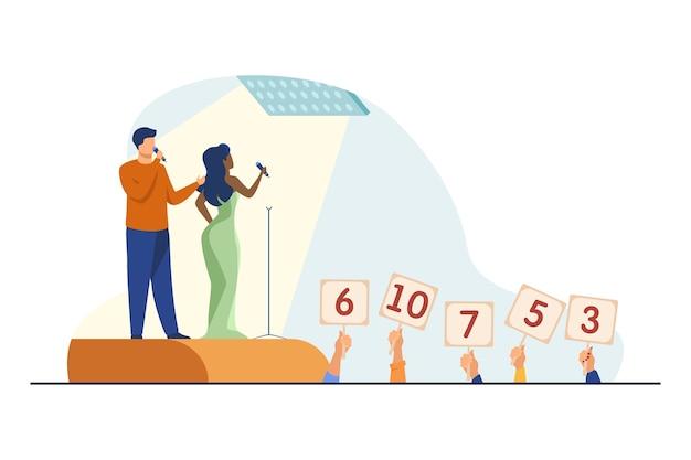 Dueto cantando no palco. juízes subindo sinais com pontuação plana ilustração vetorial. show de talentos, performance, cantores