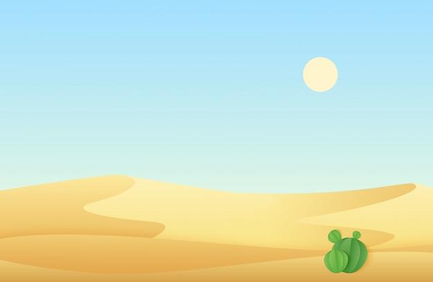 Dunas de areia do deserto com ilustração de paisagem de cacto.