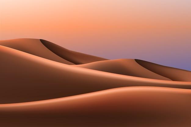 Dunas e pôr do sol, ilustração da paisagem do deserto