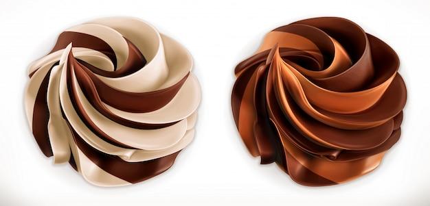 Dupla de chocolate redemoinho espalhar.