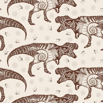 Dupla exposição do tiranossauro