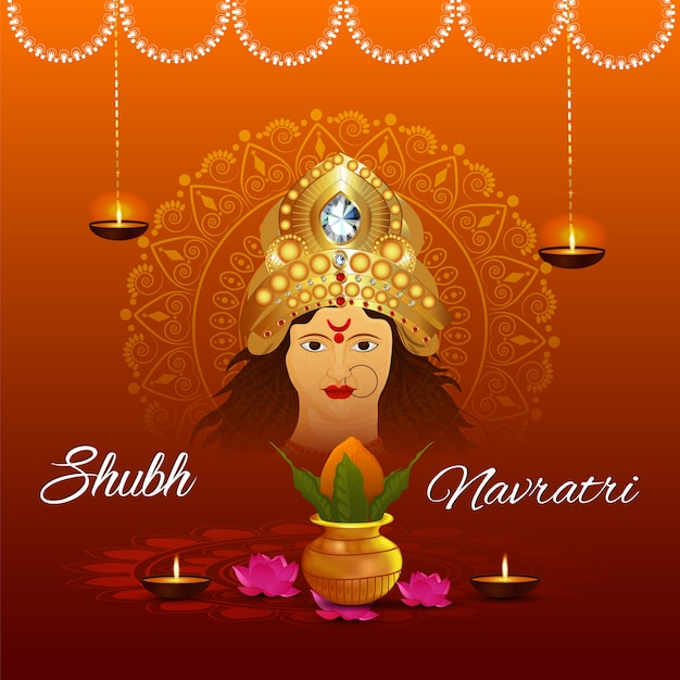 Durga pooja feliz com design de fundo ashtami