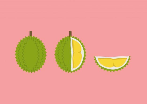 Durian com peça cortada definida em estilo plano. frutas tropicais de verão. ilustração vetorial