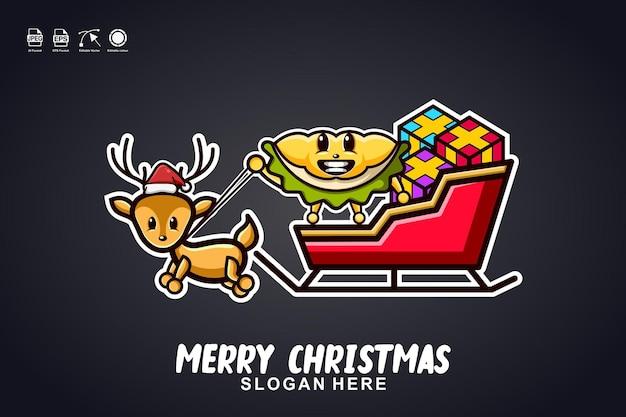 Durian passeio de trenó feliz natal mascote fofo logo design