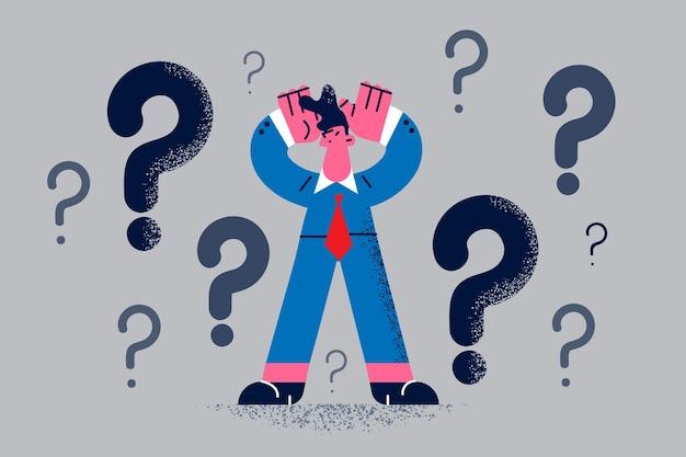 Dúvida, não sentindo o conceito confiante. personagem de desenho animado jovem empresário frustrado em pé pensando tentando decidir com pontos de interrogação acima da ilustração vetorial