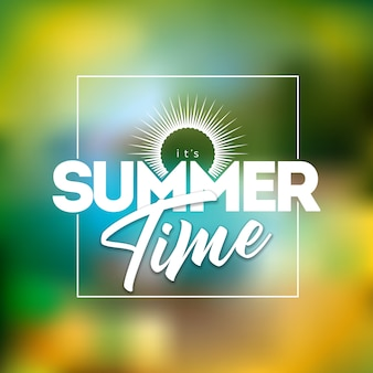 É a ilustração de horário de verão com letra de tipografia no fundo da praia turva