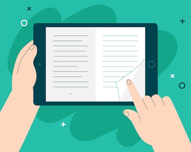 E-book em uma ilustração do conceito de tablet