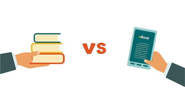 E-book versus papel. dia do livro. ilustração vetorial