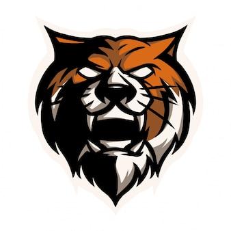 E cabeça de tigre de logotipo de esporte