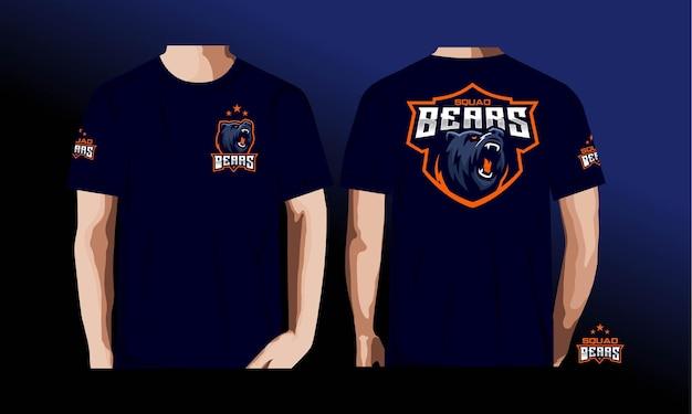 E camiseta esporte com ursos.