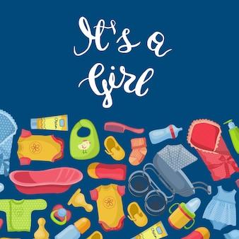 É cartão de menina com estilo cartoon de fundo de acessórios e acessórios de bebê