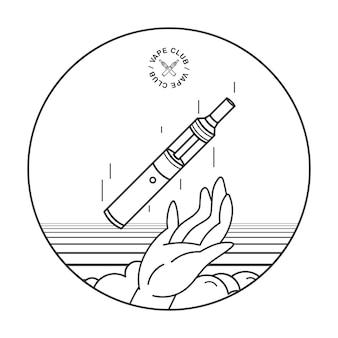 E-cigarro na mão. conceito de fumar vape, ilustração lineart.