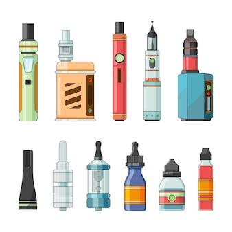 E cigarros e diferentes ferramentas elétricas para vaping