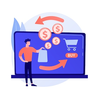 E comercial ícone de desenho animado da web. loja online, serviço de cashback, devolução de dinheiro. ideia de reembolso financeiro. retorno do investimento. receita da internet.