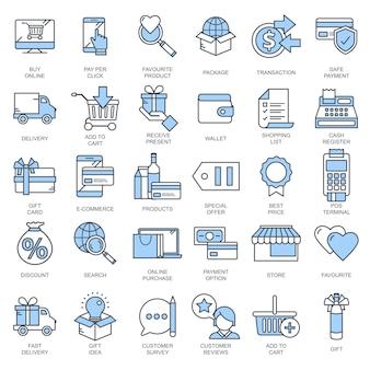 E comércio e coleção de ícone de compras