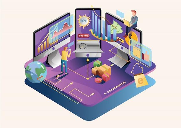 E comércio web ilustração plana