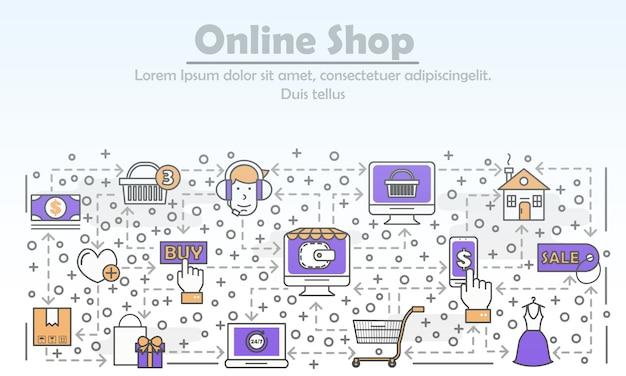 E-commerce business advertising linha plana arte ilustração